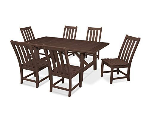 Polywood Vineyard 7 Piece Rustic Farmhouse Side Chair Dining Set Regarding Travon 5 Piece Dining Sets (Image 13 of 25)