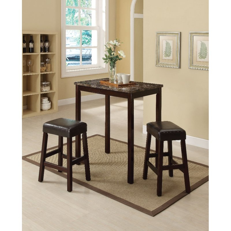 Port Augusta 3 Piece Counter Height Solid Wood Dining Set in Kernville 3 Piece Counter Height Dining Sets