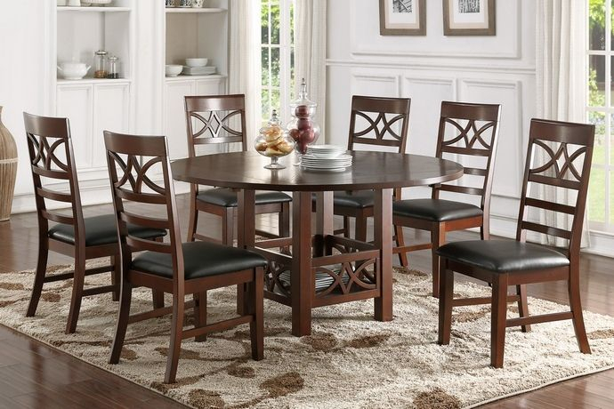 Poundex F2358 1444 7 Pc Oleander Ii Collection Dark Brown Finish For Valladares 3 Piece Pub Table Sets (View 25 of 25)