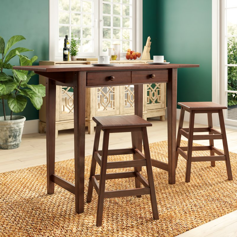 Poynter 3 Piece Drop Leaf Dining Set In Poynter 3 Piece Drop Leaf Dining Sets (View 1 of 25)