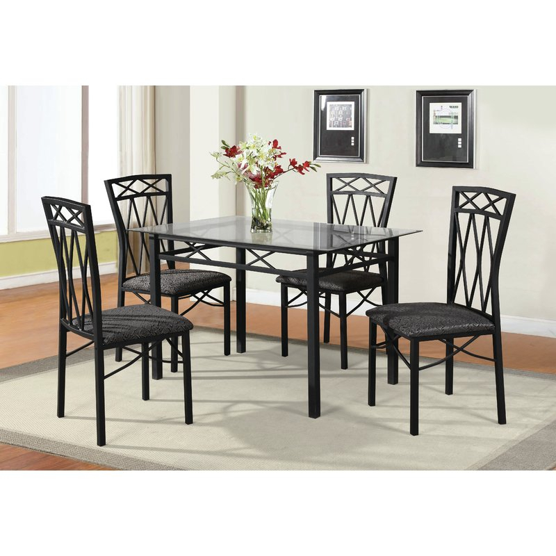 Queener 5 Piece Dining Set Intended For Queener 5 Piece Dining Sets (Image 14 of 25)