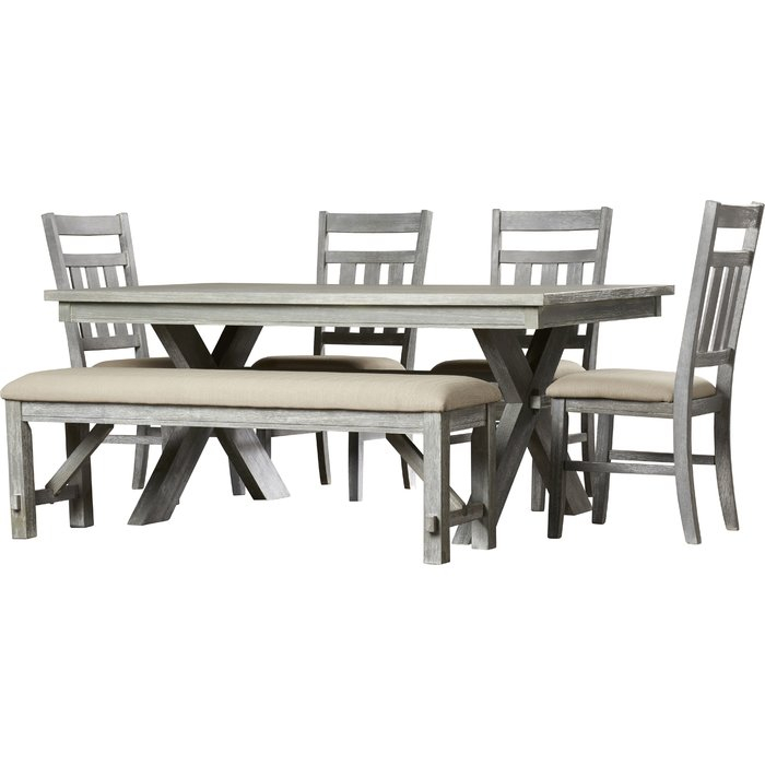 Quentin 6 Piece Dining Set throughout Osterman 6 Piece Extendable Dining Sets (Set Of 6)