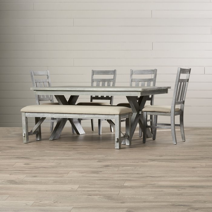 Quentin 6 Piece Dining Set Within Osterman 6 Piece Extendable Dining Sets (Set Of 6) (Image 24 of 25)