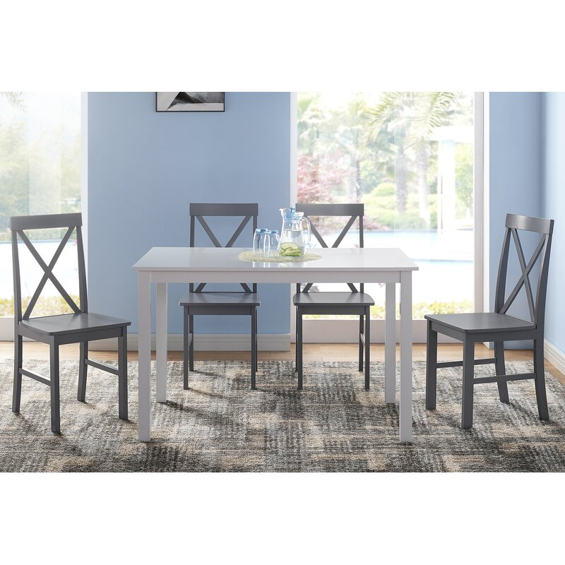Rarick 5 Piece Solid Wood Dining Set Regarding Rarick 5 Piece Solid Wood Dining Sets (Set Of 5) (Image 19 of 25)
