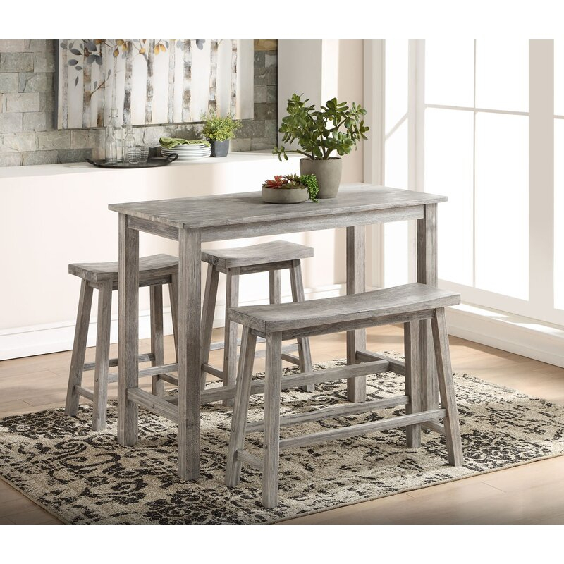 Raymundo 4 Piece Pub Table Set Inside Askern 3 Piece Counter Height Dining Sets (Set Of 3) (View 17 of 25)