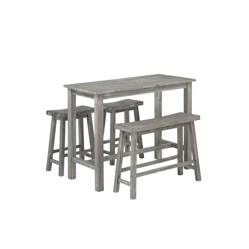 Raymundo 4 Piece Pub Table Set Intended For Askern 3 Piece Counter Height Dining Sets (Set Of 3) (View 22 of 25)
