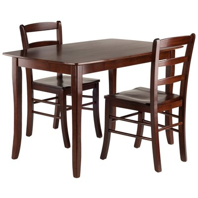 Red Barrel Studio Fetter 3 Piece Solid Wood Dining Set In 2019 Throughout Sundberg 5 Piece Solid Wood Dining Sets (Image 20 of 25)