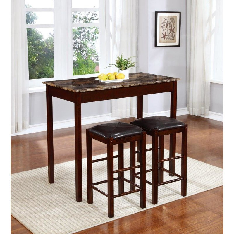 Rockford 3 Piece Faux Marble Counter Height Pub Table Set With Regard To Askern 3 Piece Counter Height Dining Sets (Set Of 3) (View 4 of 25)