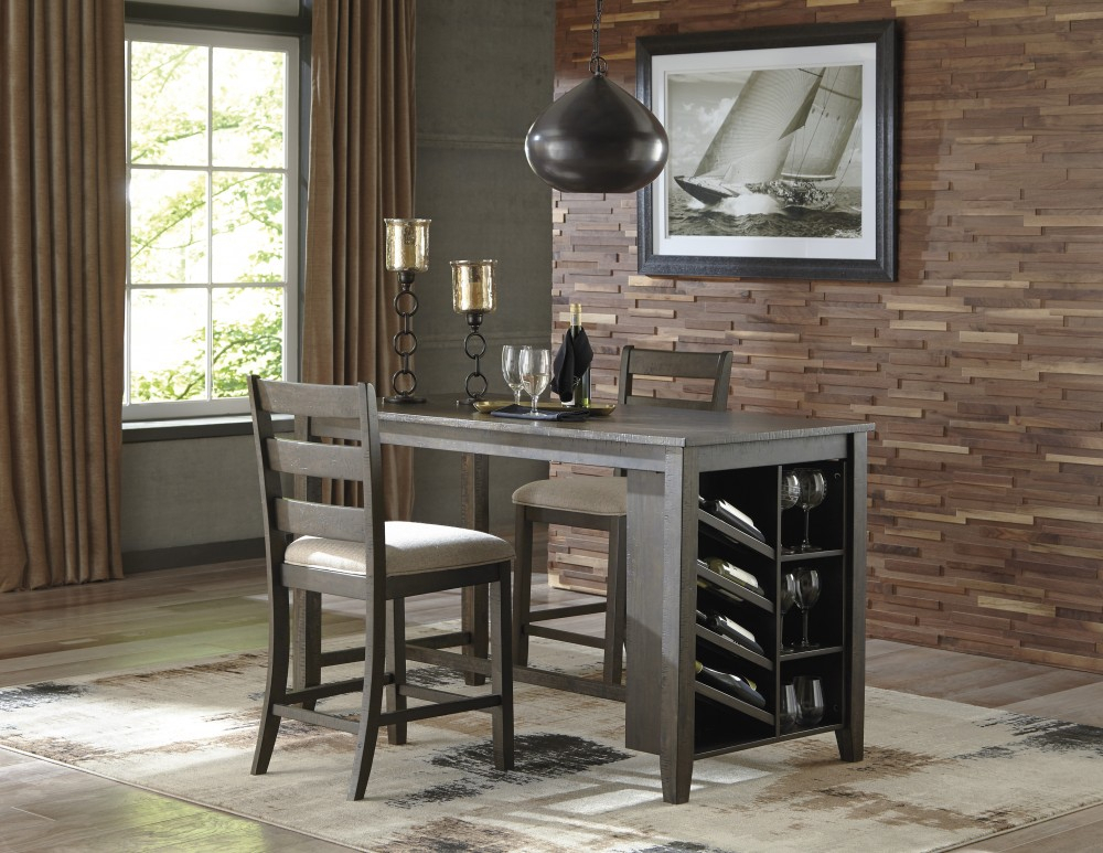 Rokane – Rect Counter Table W/storage & 2 Uph Barstools Within Tappahannock 3 Piece Counter Height Dining Sets (Image 12 of 25)