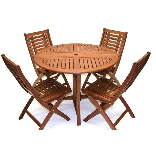Roseland Brazilian Eucalyptus 5 Piece Dining Set In 2019 | Outside Pertaining To Miskell 5 Piece Dining Sets (View 13 of 25)