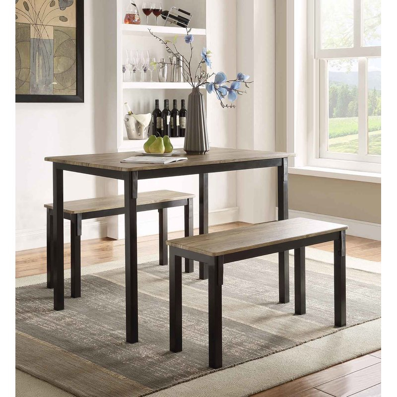 Rossiter 3 Piece Dining Set Regarding Partin 3 Piece Dining Sets (Image 23 of 25)