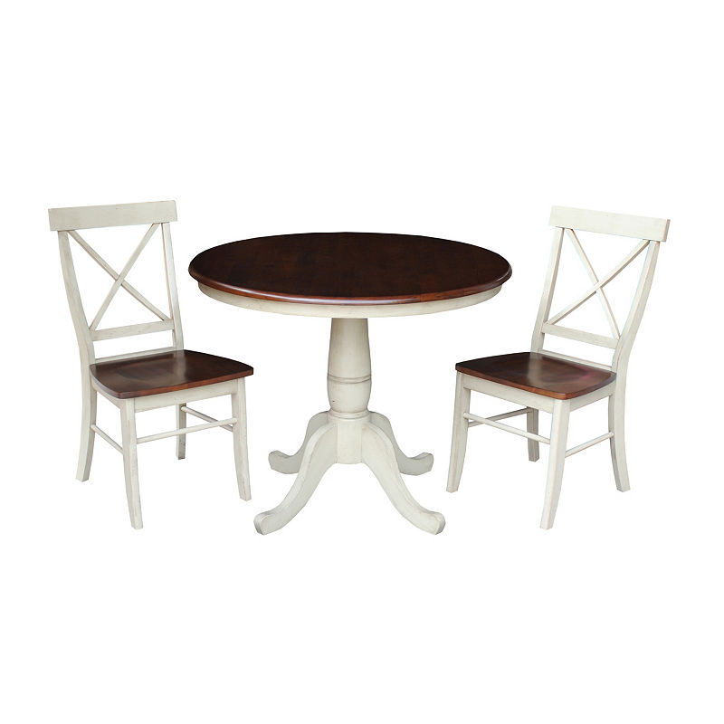 Round Top Pedestal Table With 2 X Back Chairs | Products | Round In Kieffer 5 Piece Dining Sets (View 7 of 25)
