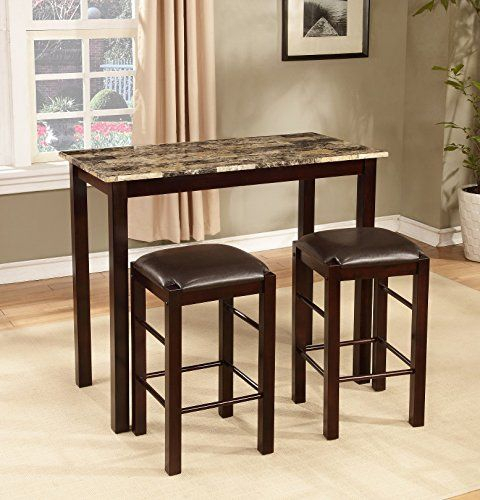 Roundhill Furniture Brando 3 Piece Counter Height Breakfast Set Throughout Tenney 3 Piece Counter Height Dining Sets (Image 22 of 25)