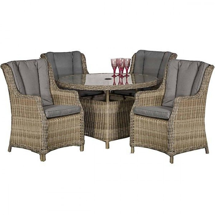 Royalcraft Wentworth Rattan Round 4 Seater Comfort Dining Set Regarding Amir 5 Piece Solid Wood Dining Sets (Set Of 5) (View 23 of 25)