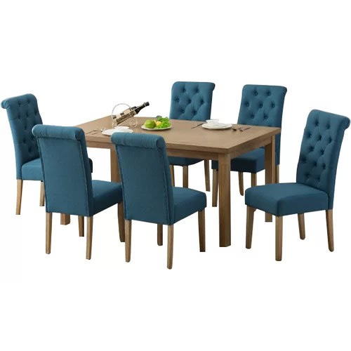 Rumi Solid Wood 7 Piece Dining Set  Blue Within Chelmsford 3 Piece Dining Sets (Image 25 of 25)