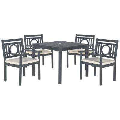 Rustic – Ash Gray With Beige Cushions – Patio Dining Sets – Patio Throughout Delmar 5 Piece Dining Sets (Image 21 of 25)