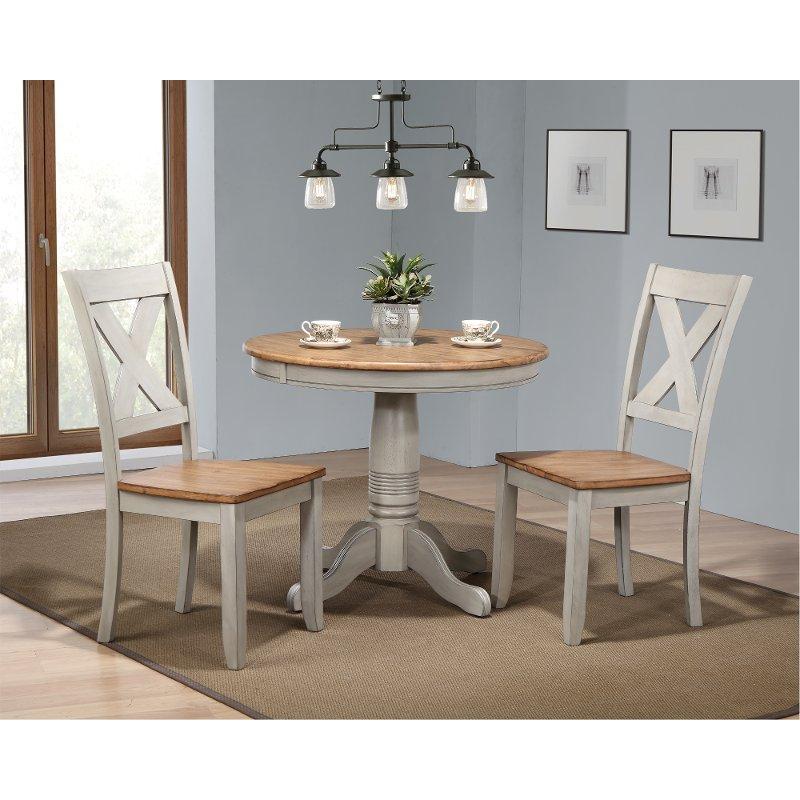 Rustic Gray And Brown 3 Piece Round Dining Set – Barnwell | Rc In Ligon 3 Piece Breakfast Nook Dining Sets (View 15 of 25)