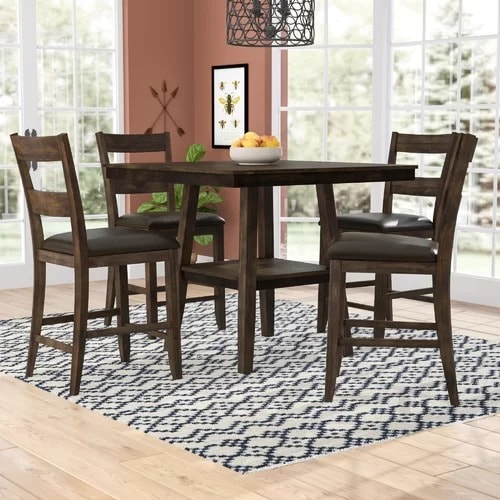 Rutkowski 5 Piece Counter Height Solid Wood Pub Table Set Inside Bettencourt 3 Piece Counter Height Dining Sets (View 20 of 25)