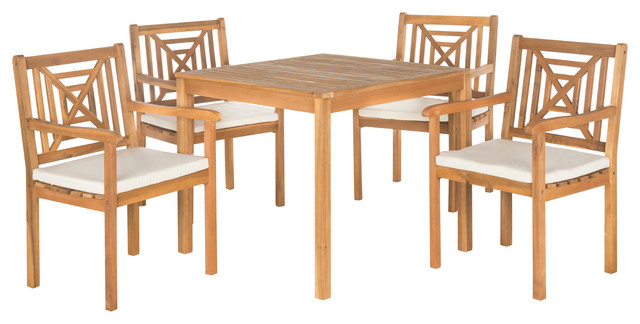 Safavieh Del Mar 5 Piece Outdoor Dining Set, Teak Brown Intended For Delmar 5 Piece Dining Sets (Image 22 of 25)