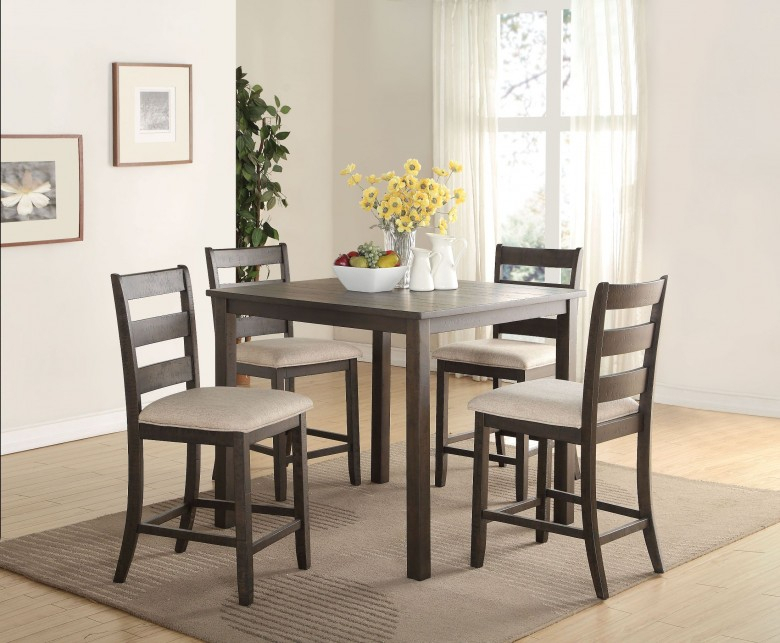 Salileo Weathered Dark Oak 5 Piece Counter Height Dining Set With Calla 5 Piece Dining Sets (Image 24 of 25)