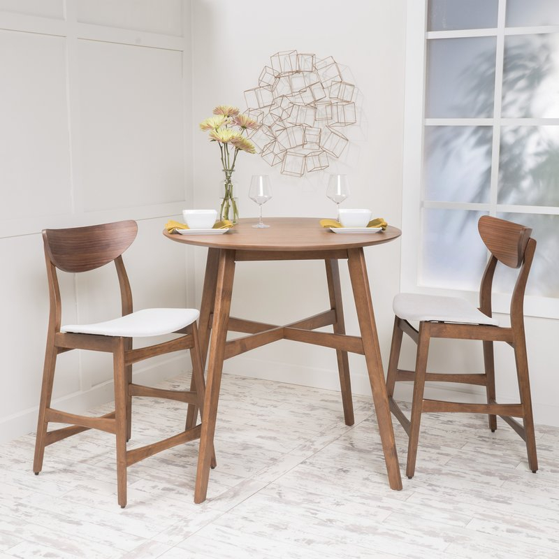Santa Cruz 3 Piece Counter Height Dining Set Throughout Moorehead 3 Piece Counter Height Dining Sets (Image 23 of 25)