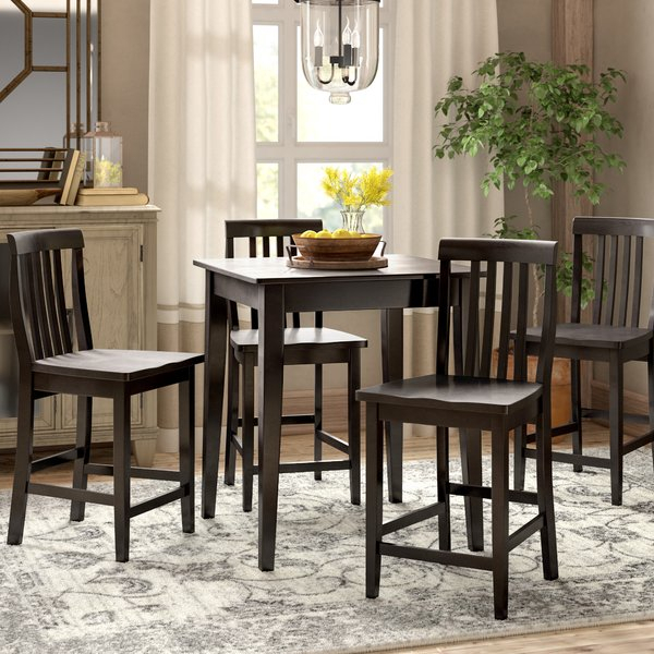 Scratch Resistant Dining Set | Wayfair Pertaining To Rarick 5 Piece Solid Wood Dining Sets (Set Of 5) (View 6 of 25)