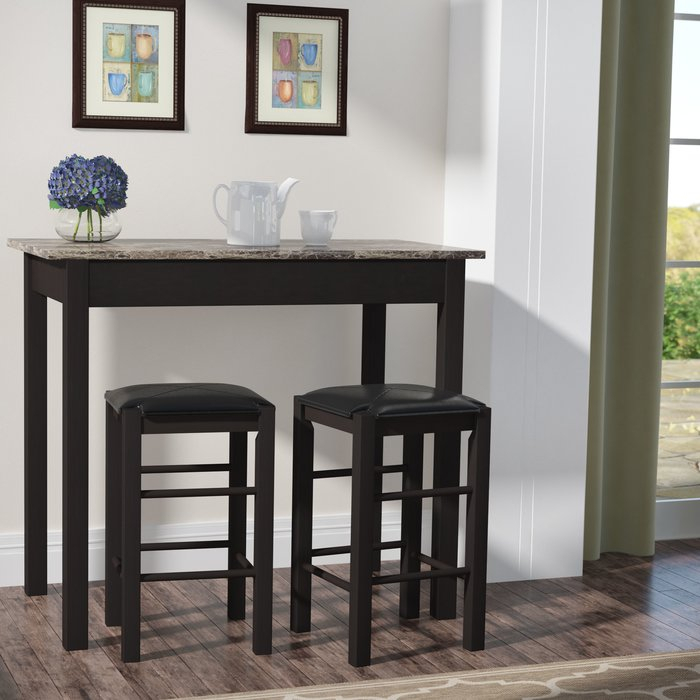 Sheetz 3 Piece Counter Height Dining Set Within Tappahannock 3 Piece Counter Height Dining Sets (Image 13 of 25)