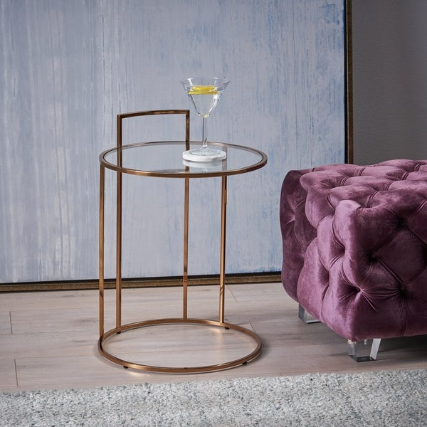 Shop Christopher Knight Home Isolde Glam Tempered Glass Side Table For Isolde 3 Piece Dining Sets (View 21 of 25)