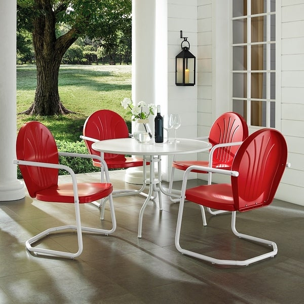 "Shop Griffith Metal Five Piece Outdoor Dining Set – 39"" Dining Table With Regard To Bate Red Retro 3 Piece Dining Sets (View 11 of 25)"
