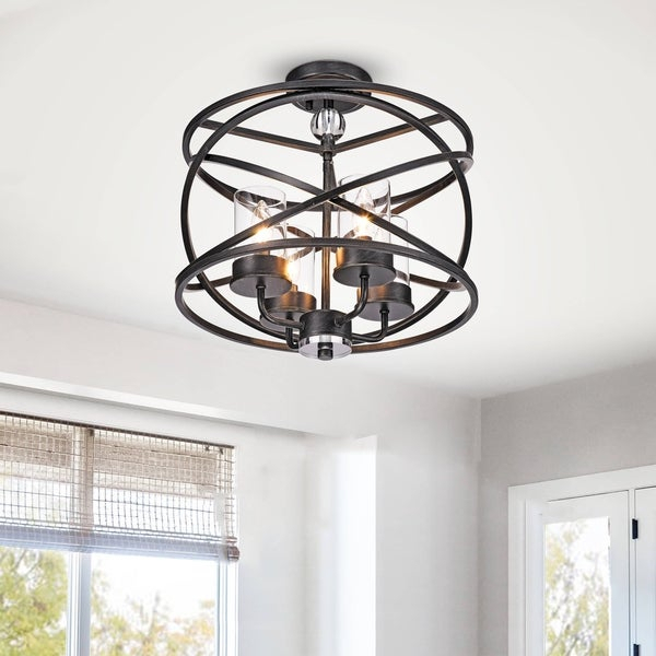 Shop Honoria Antique Black 4 Light Iron And Glass Pendant Chandelier For Honoria 3 Piece Dining Sets (Image 20 of 25)