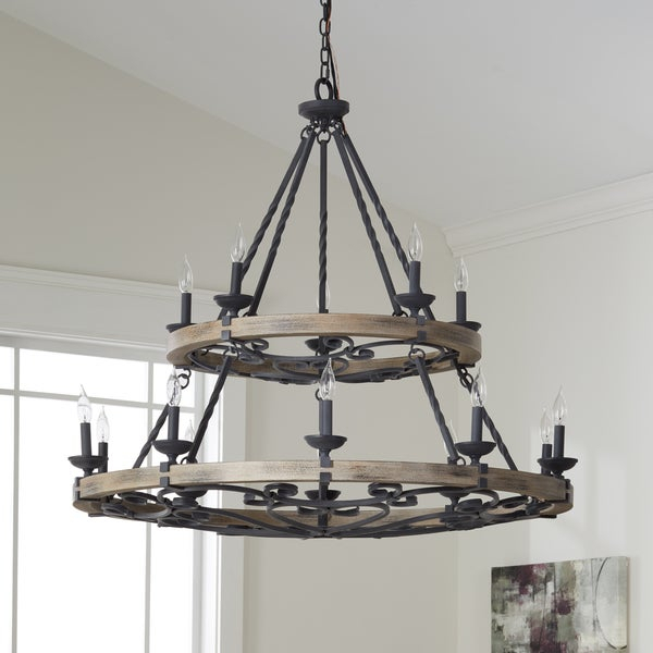 Shop Kichler Lighting Taulbee Collection 15 Light Weathered Zinc Intended For Taulbee 5 Piece Dining Sets (View 15 of 25)
