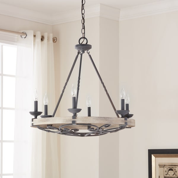 Shop Kichler Lighting Taulbee Collection 6 Light Weathered Zinc Intended For Taulbee 5 Piece Dining Sets (View 13 of 25)