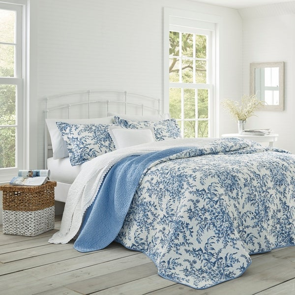 Shop Laura Ashley 3 Piece Bedford Blue Reversible Quilt Set – Free Pertaining To Bedfo 3 Piece Dining Sets (View 22 of 25)