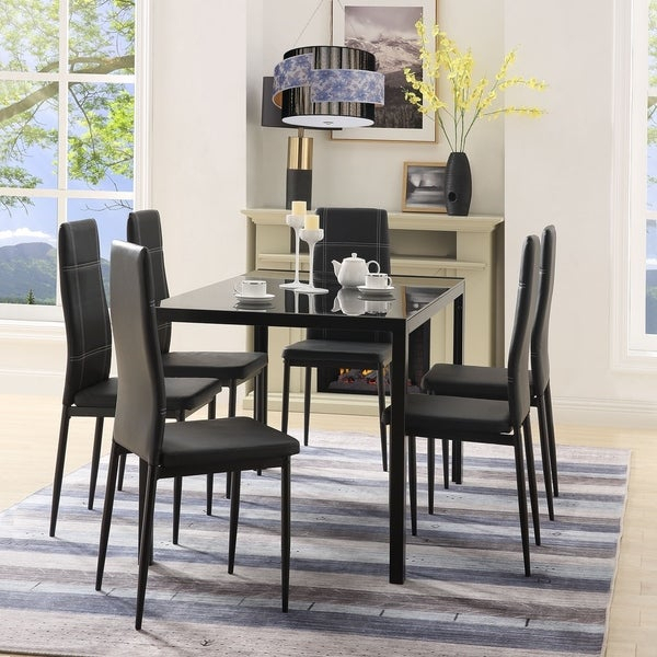 Shop Merax 7 Piece Dining Set Glass Top Metal Table 6 Person Table For Maynard 5 Piece Dining Sets (Image 25 of 25)