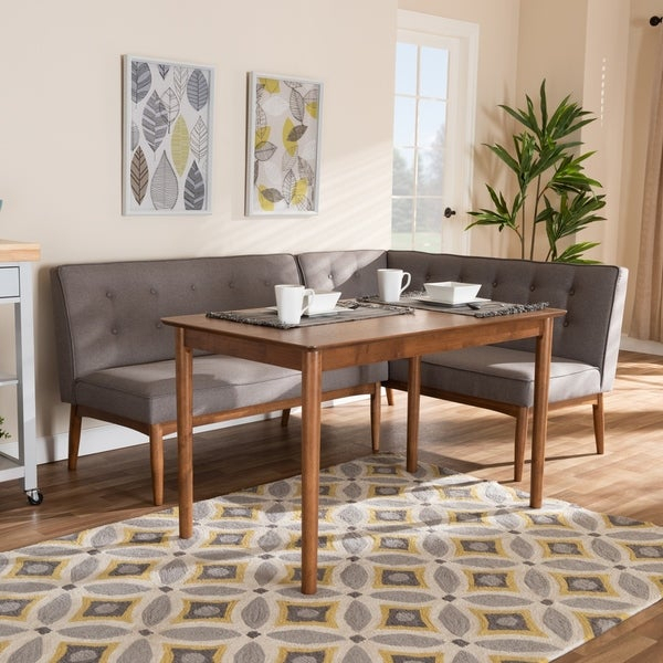 Shop Mid Century Gray Fabric 3 Piece Dining Nook Set – Free Shipping Intended For Maloney 3 Piece Breakfast Nook Dining Sets (Image 17 of 25)