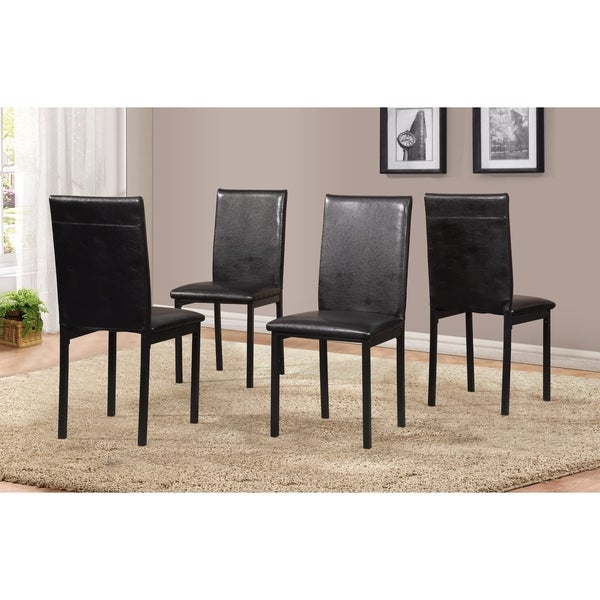 Shop Noyes Faux Leather Seat Metal Frame Black Dining Chairs, Set Of With Noyes 5 Piece Dining Sets (Image 21 of 25)