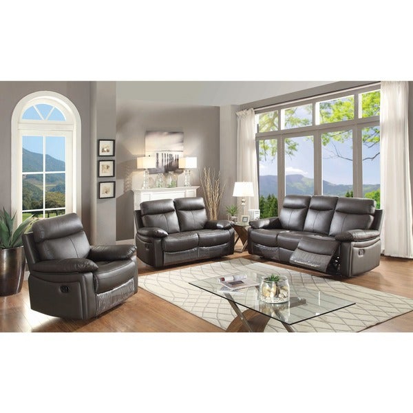 Shop Ryker Contemporary Leather 3 Piece Sofa Set With 5 Recliners With Regard To Ryker 3 Piece Dining Sets (View 14 of 25)