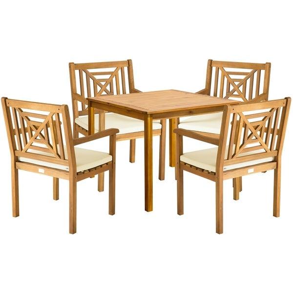 Shop Safavieh Outdoor Living Del Mar Brown Acacia Wood 5 Piece Beige With Delmar 5 Piece Dining Sets (View 10 of 25)