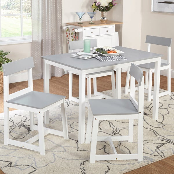 Shop Simple Living Aria 5 Piece Light Grey And White Dining Set Throughout Aria 5 Piece Dining Sets (Image 25 of 25)