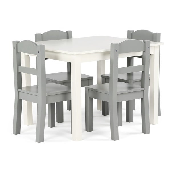 Shop Springfield 5 Piece Wood Kids Table & Chairs Set In White/grey In Springfield 3 Piece Dining Sets (Image 10 of 25)