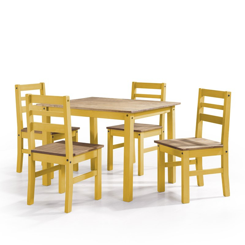 Shrewsbury 5 Piece Solid Wood Dining Set Intended For Yedinak 5 Piece Solid Wood Dining Sets (Image 12 of 25)