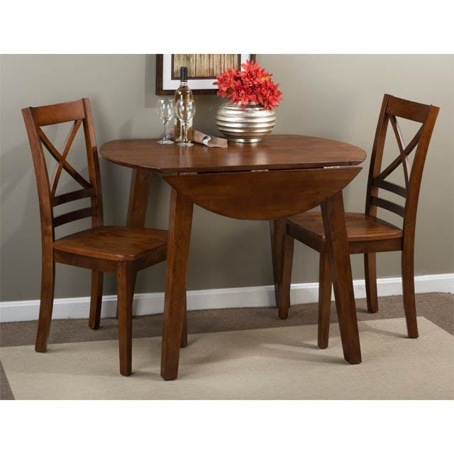 Simplicity Caramel 3 Piece Dinette Set (Drop Leaf Table With 2 X Within 3 Piece Dining Sets (Photo 22 of 25)