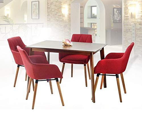 Sk New Interiors Dining Kitchen Set Of 5 Rectangular Wooden Medium Intended For Sundberg 5 Piece Solid Wood Dining Sets (Image 22 of 25)
