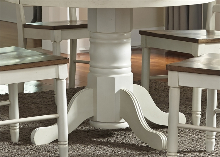 Springfield Pedestal Table 5 Piece Dining Set In Two Tone Honey & Cream  Finishliberty Furniture – Lib 278 Cd 5Pds Throughout Springfield 3 Piece Dining Sets (Image 21 of 25)
