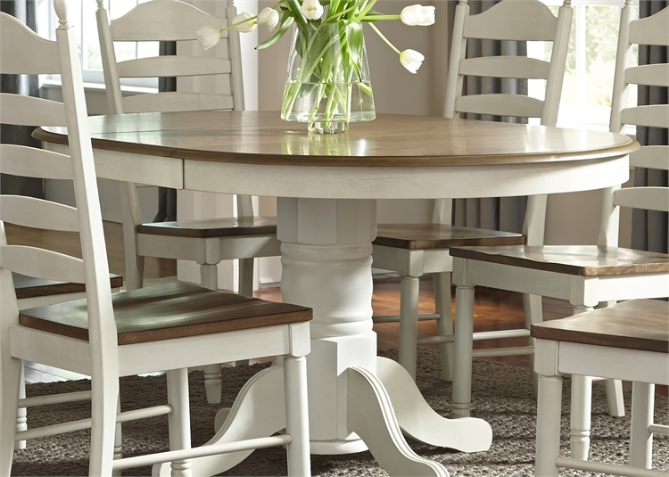 Springfield Pedestal Table 7 Piece Dining Set In Two Tone Honey & Cream  Finishliberty Furniture – Lib 278 Cd 7Pds Pertaining To Springfield 3 Piece Dining Sets (Image 22 of 25)