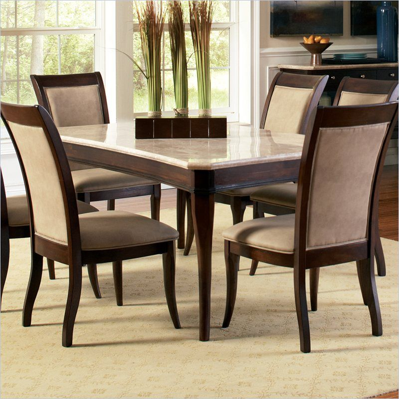 Steve Silver Company Marseille Marble Top Dining Table In Cherry Inside Laconia 7 Pieces Solid Wood Dining Sets (Set Of 7) (Image 24 of 25)