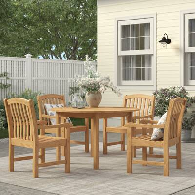 Summerton Teak Loveseat With Cushions In Rossi 5 Piece Dining Sets (View 19 of 25)
