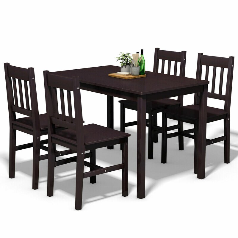 Sundberg 5 Piece Solid Wood Dining Set Intended For Yedinak 5 Piece Solid Wood Dining Sets (Image 13 of 25)