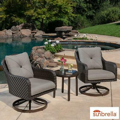 Sunvilla Alacantra 3 Piece Woven Rocker Bistro Set Tailored Cushions For Kinsler 3 Piece Bistro Sets (View 25 of 25)