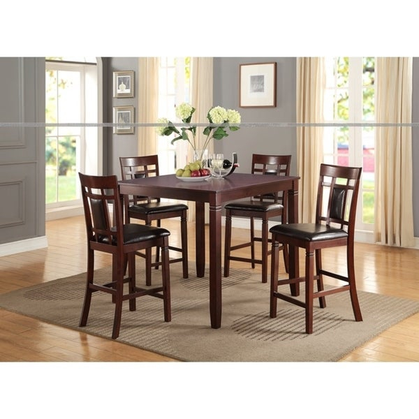Swish Cashew Wood 5 Pieces Counter Height Dining Set In Brown Intended For Sheetz 3 Piece Counter Height Dining Sets (View 6 of 25)